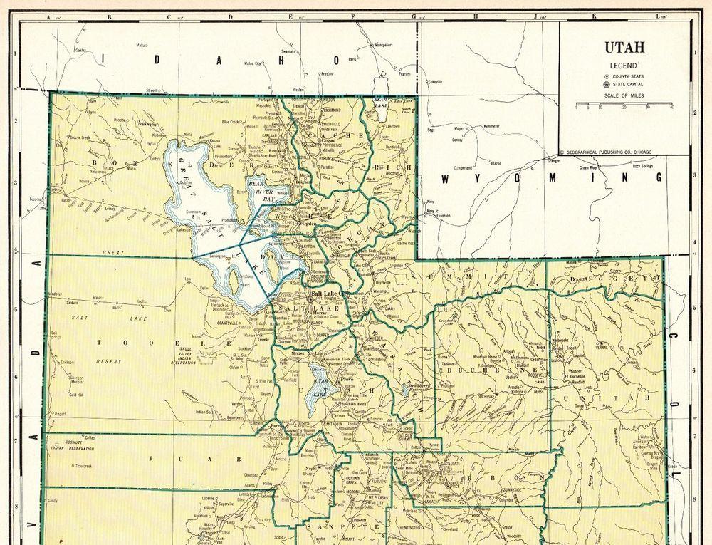 Utah United States Map.Antique Utah State Map Vintage 1931 Rare Poster Size Map Of Utah