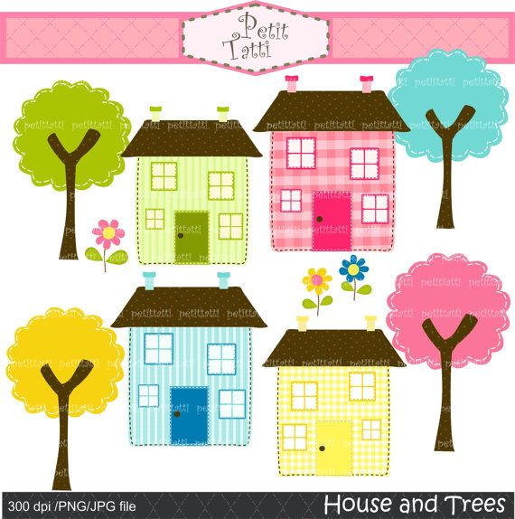 House clip art , trees clip art ,Instant download Digital clip art. for all use, Houses and Trees