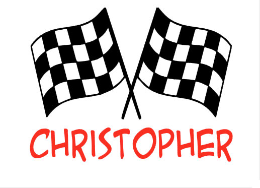 Custom Checkered Flags With Name Choice Of Colors Vinyl Decal - Custom vinyl decals no minimum