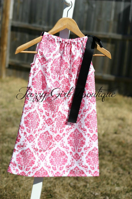 Pillowcase Dress Fuschia Pink Glitter Damask with Black Ribbon that ...