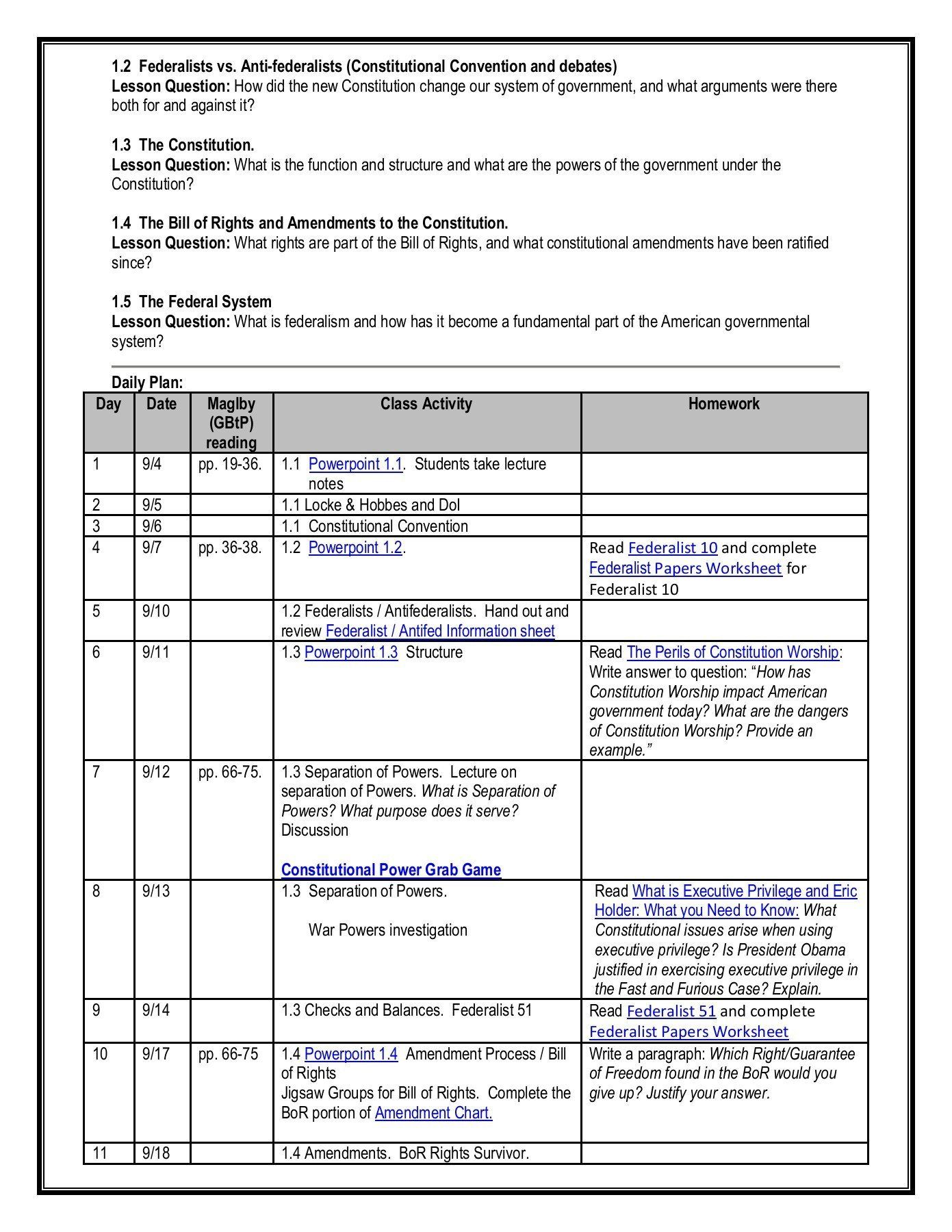 Constitutional Convention Worksheet Unit 1 Guide