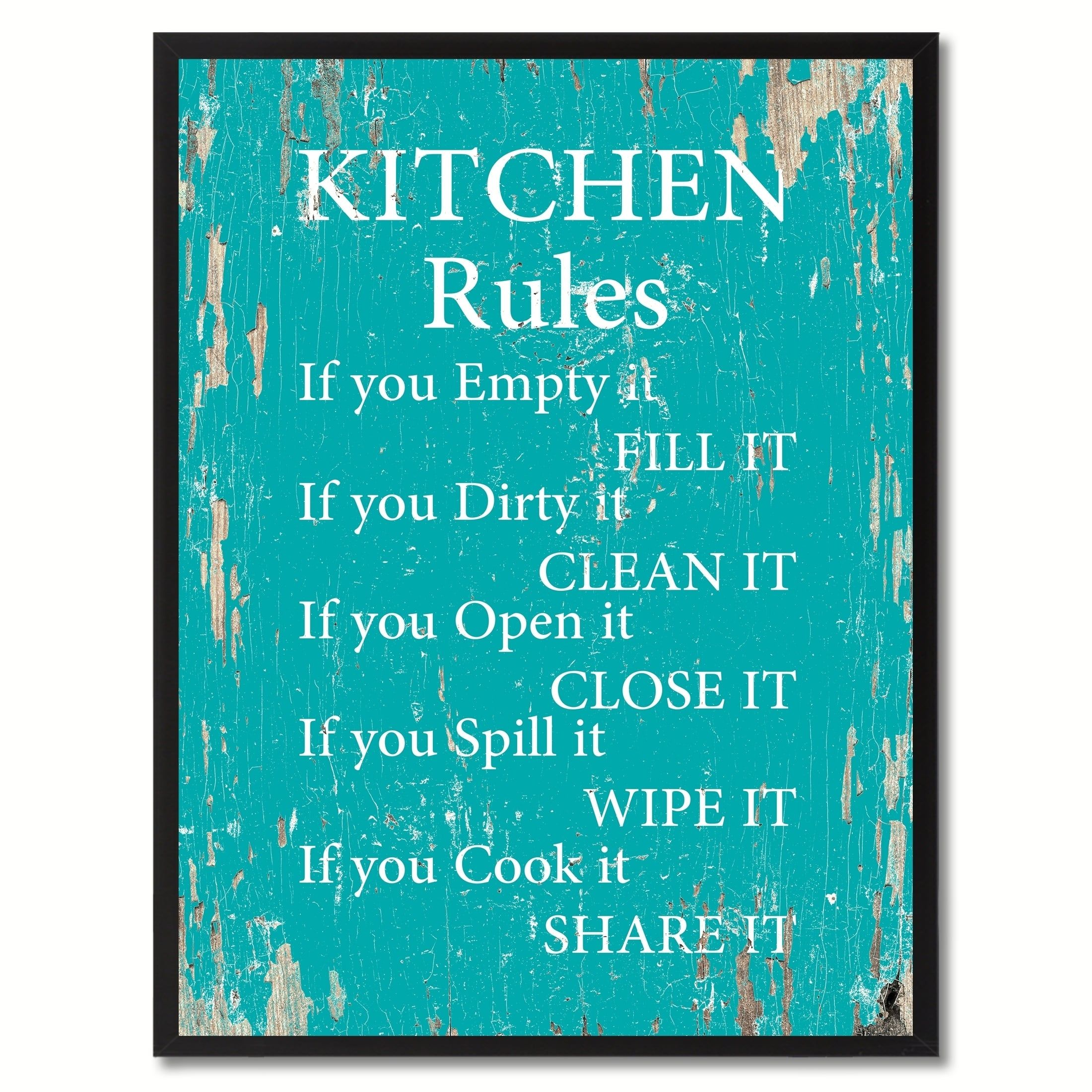 Kitchen Rules SayingCanvas Print Picture Frame Home Decor Wall Art ...
