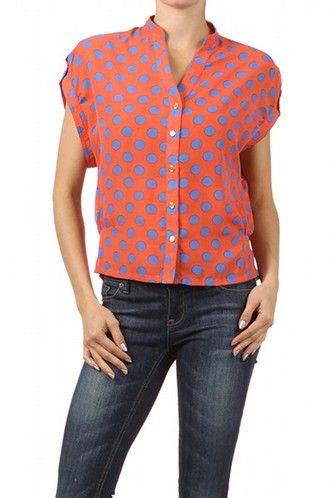 Sheer Orange Polka Dot Top- Women's at www.alopescloset.com