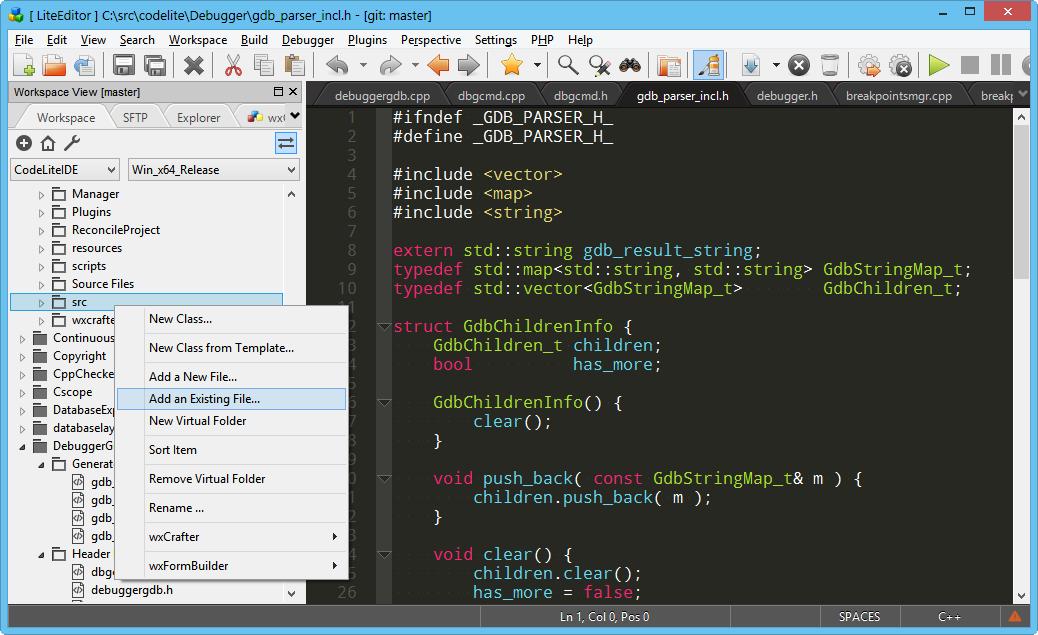 CodeLite is an open source, free, cross platform IDE