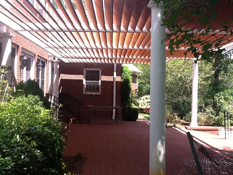 Tubular steel 20ft x 40ft pergola design a yard and for Metal frame pergola designs