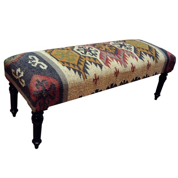 Herat Oriental Handmade Kilim Upholstered Bench India