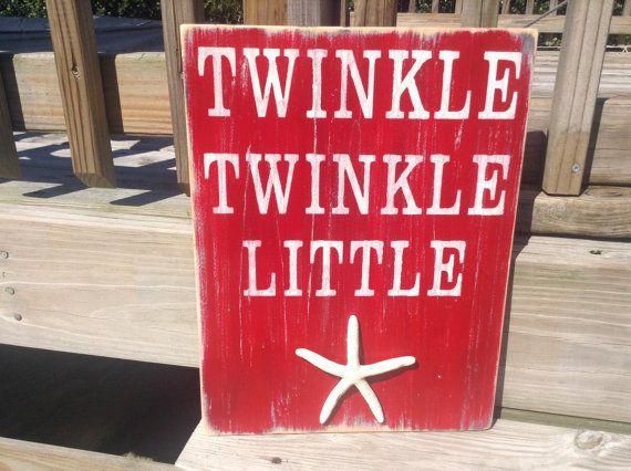 Beach Baby Nursery Sign Twinke Twinkle Little by justbeachyshop