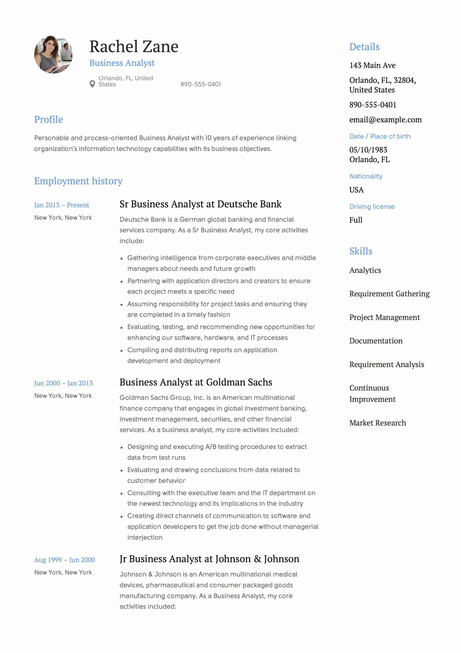 Business Analyst Resume Example Unique Full Guide Project