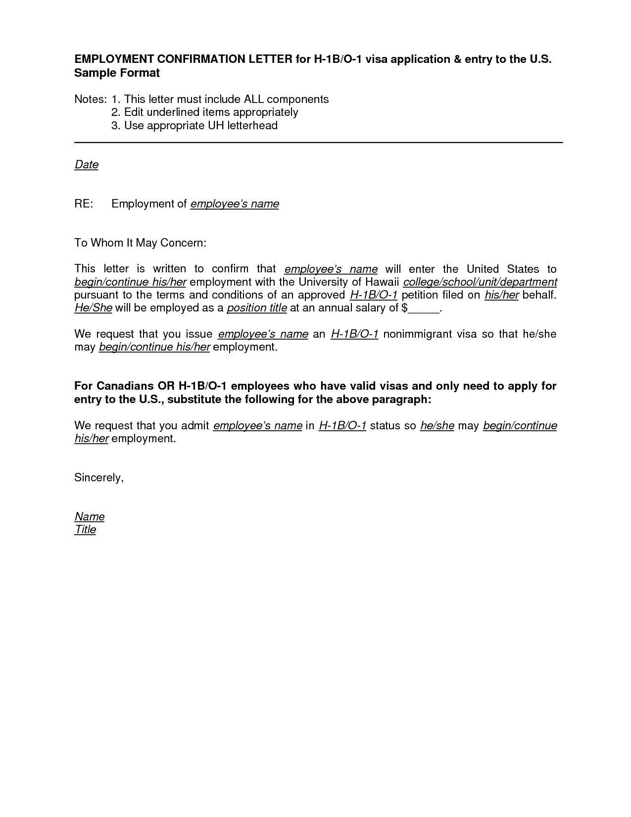 Valid Employment Letter Sample for B1 Visa Letter