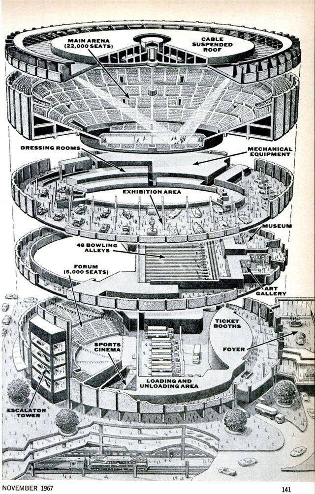 Madison Square Garden Exploded View Drawing 1967 Random Retro Pinterest Gardens Madison