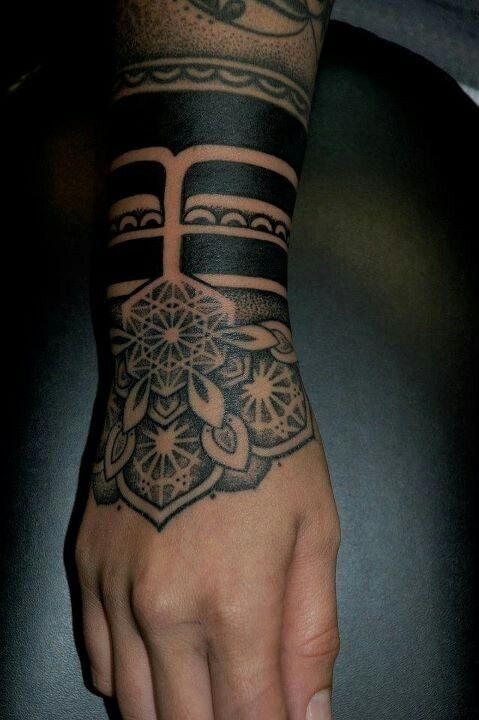 Mandala Solid Black Wrist Tattoo Arm Band Tattoo Tattoos Hand Tattoos