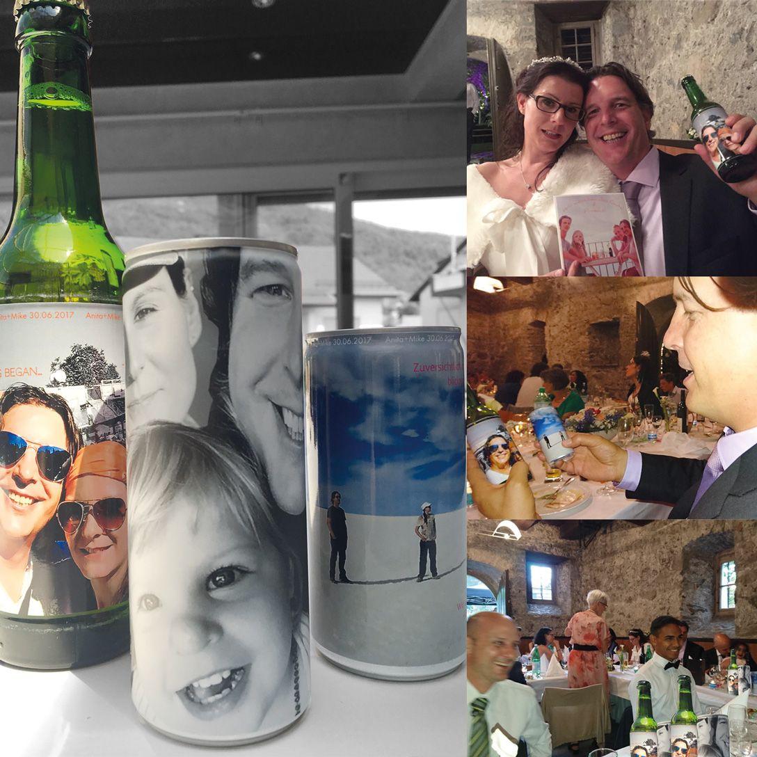 Happy Hochzeitspaar und Gäste!  Mit unseren individuellen Getränkedosen.  Muster und Infos: www.akhofprint.ch/getraenkedosen   #getränkedose #dosendruck #dosen #hochzeit #party #giveaway #seccobianco #bierflasche #bierdose #hugo #energydrink #eistee #sportsdrink #apfelspritzer #akhofprint #wedding