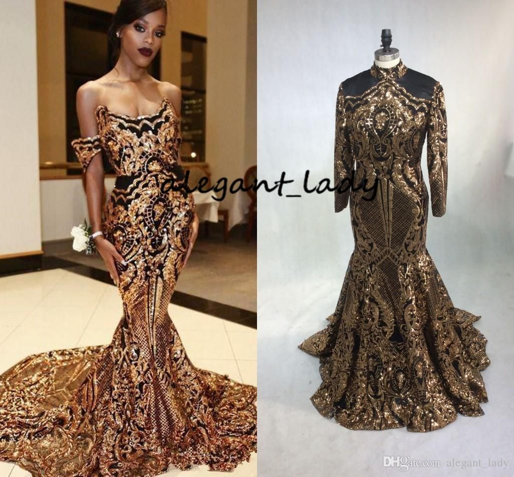 c3f01adec8 Luxury Gold Black Mermaid Evening Pageant Dresses with Long Sleeve ...