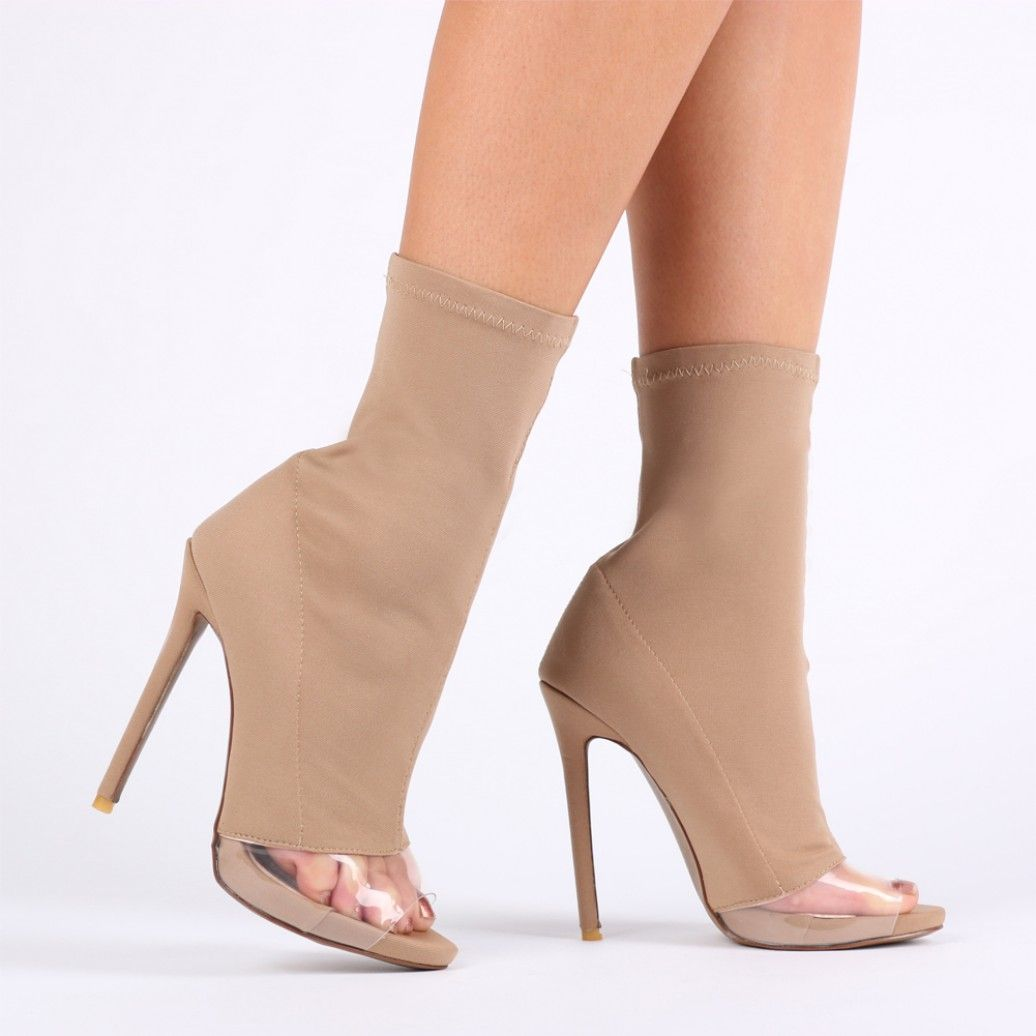 1f78dfeb8538 Amelia Perspex Detail Sock Fit Boots in Nude