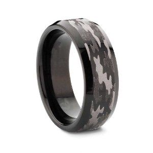 King Will 8mm Bevel Edge Tungsten Carbide Black Hunting Camouflage Wedding Band Camo Engagement Ring
