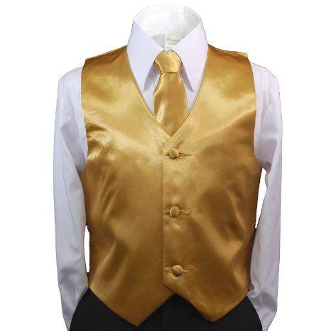 14 Toddler /& Kids ORANGE SATIN VEST /& TIE SET for Boy/'s Suit Tuxedo Sz 2T