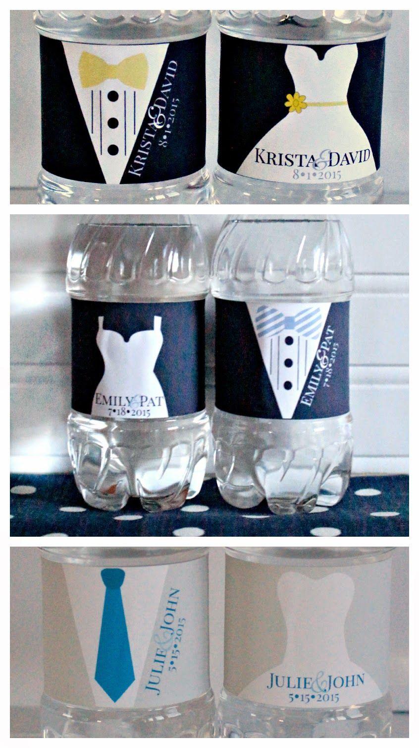 Bride groom water bottle labels wedding water bottles
