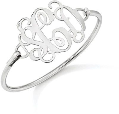 This simple yet elegant Monogrammed Sterling Silver Bangle Bracelet is the perfect gift.
