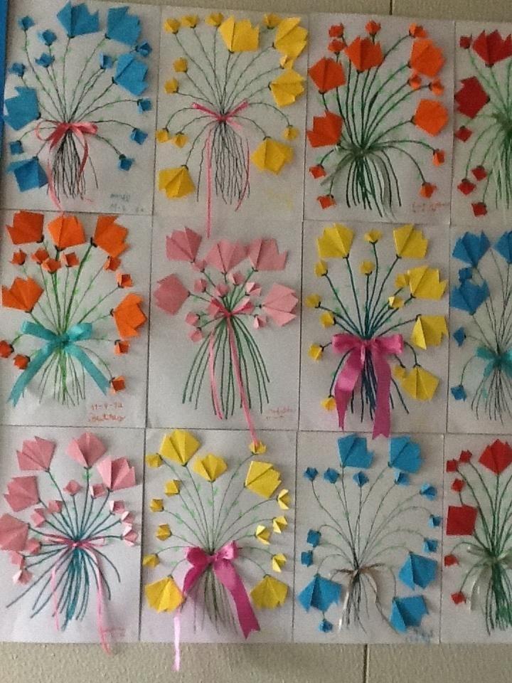 origami flowers. Vouwblaadjes knutselen bloemen