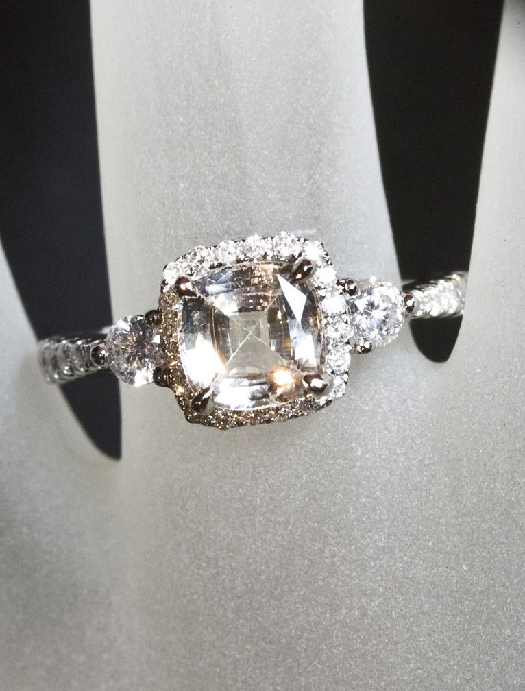 Cushion peach sapphire halo pavé band engagement ring