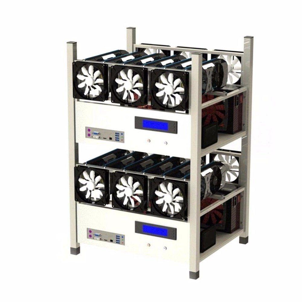 6 GPU Open Air Mining Case Computer ETH Miner Frame Rig 6x Fan /& Temp Monitor
