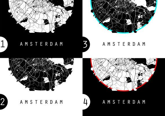 Amsterdam Map, Netherlands Map, World Map, Maps, Black And White Map ...