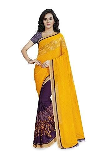 6ac5b3588152b5 Kashvi Sarees Faux Georgette Yellow   Multi Color Printed Saree With Blouse  Piece