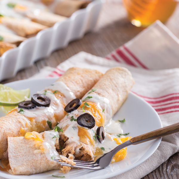 Skinny Honey Lime Chicken Enchiladas