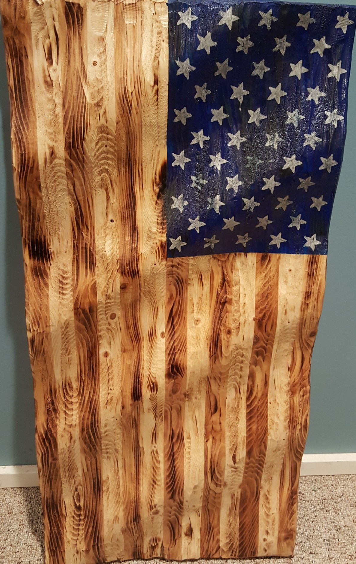 Proud American Carved American Flag Rustic Wooden American Flag