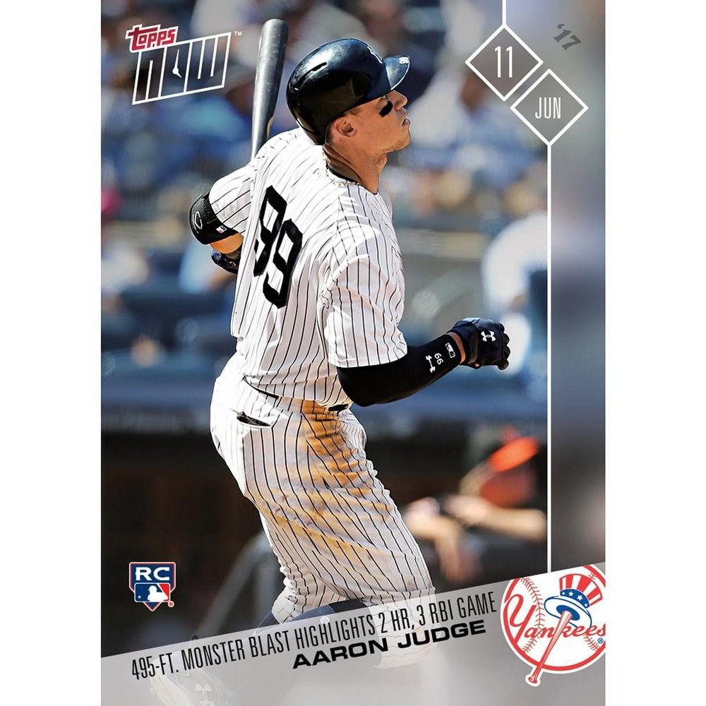 Topps Mlb Ny Yankees Aaron Judge 238 Rc 2017 Topps Now Trading Card In 2020 Ny Yankees Yankees New York Yankees Baseball