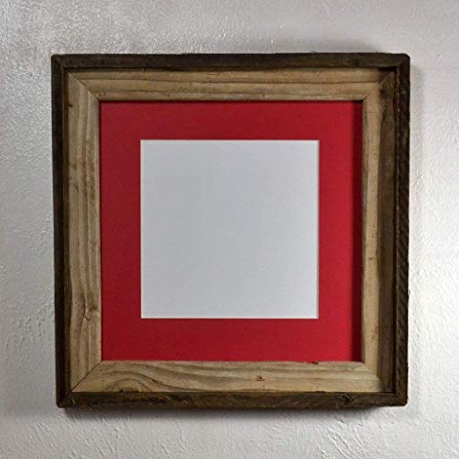 Picture Frame 8x8 Red Mat Reclaimed Wood Complete With Glass Brown And Gray 12x12 Without Mat You Can Get More Details By Clicking O Wood Picture Frames Picture On Wood