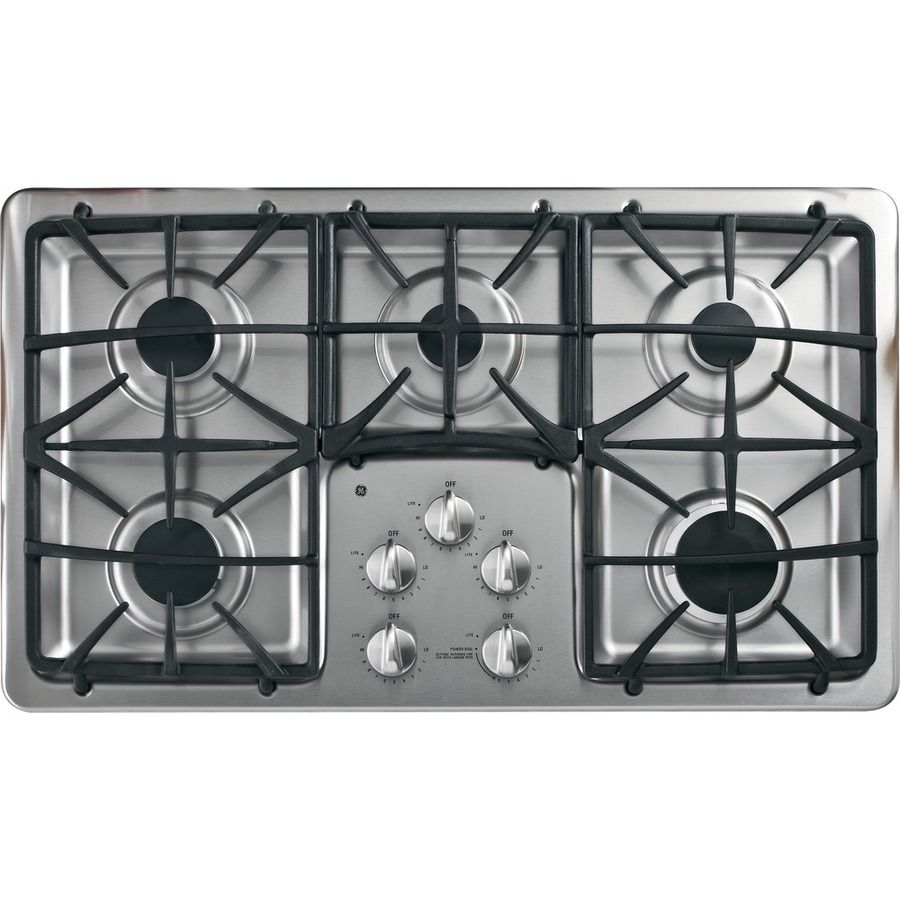 ge profile 5burner gas cooktop stainless steel