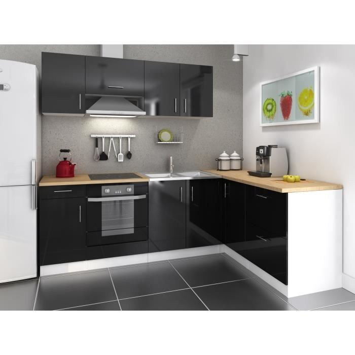 Cuisine Complete Swithome Alice Noire Angle Droit Cuisines Completes Cuisine Salle De Ba Small Kitchen Storage Small Kitchen Organization Kitchen Remodel