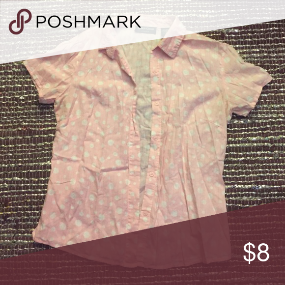 Pink Polka Dot Button Up Size small Tops Button Down Shirts