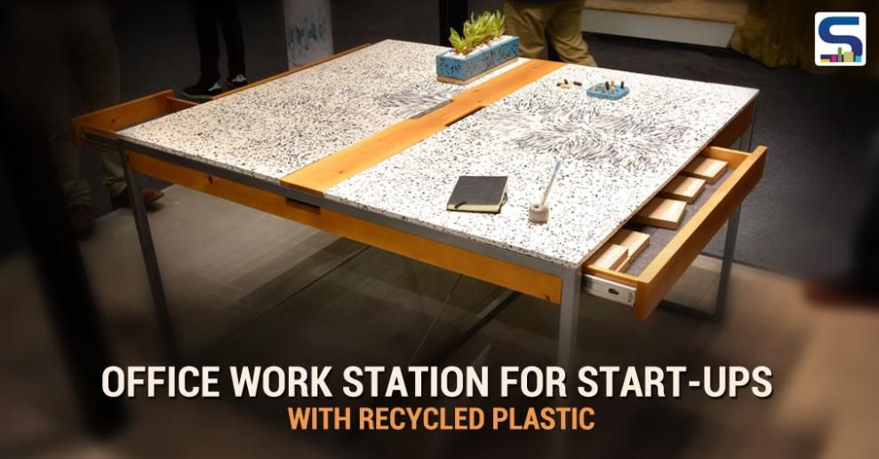 The Designers Integrated An Experimental Solid Surface Table Top Made Out  Of Recycled Plastics. The