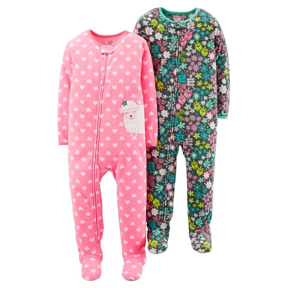3bd83cc50 Just One YouMade by Carter's Girls' 2 Pack Pink Floral Sheep Blanket Fleece  Footed Sleepers