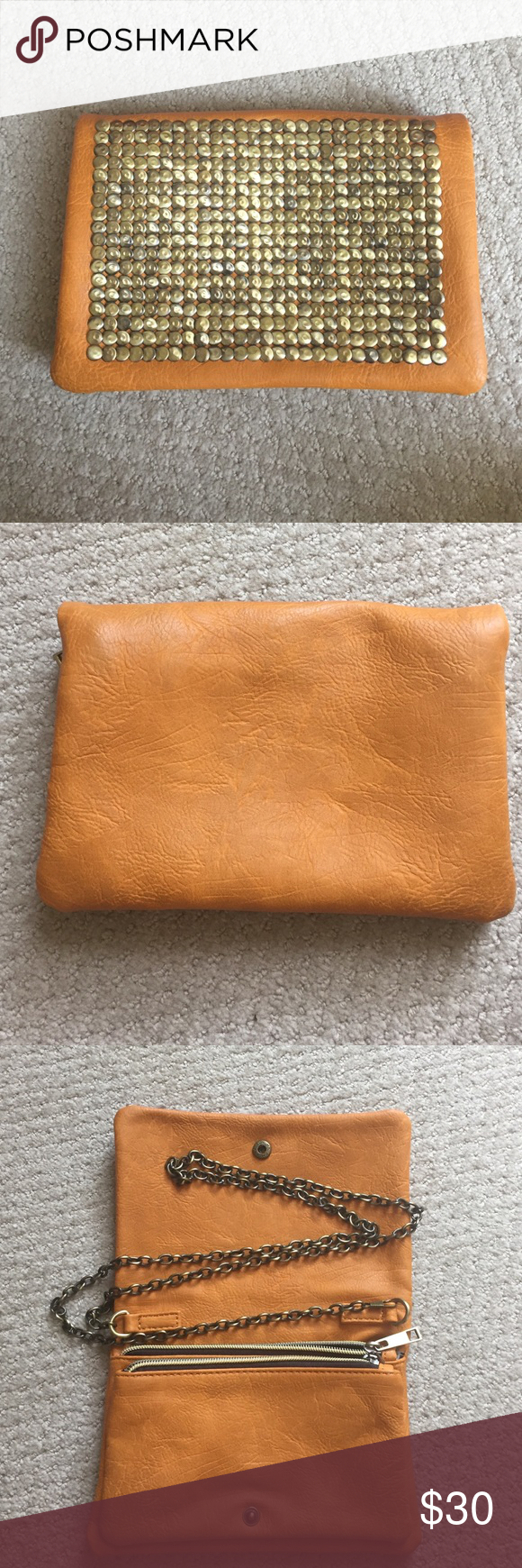 Purse Orange Purse- can either be a clutch or it has a chain. Purchased at Francesca's. Only used once. In great condition. Bags Crossbody Bags