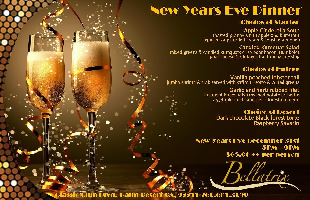 New Years' Eve Dinner menu featured in 2014 Bellatrix