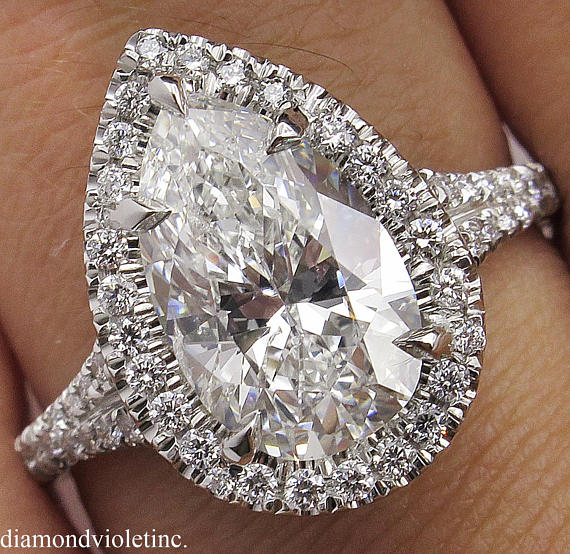 GIA 3.01ct Estate Vintage COLORLESS Pear Diamond Halo Engagement Wedding  Platinum Ring dcea47f669f