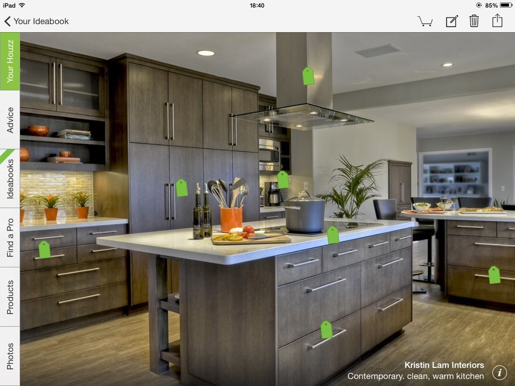 island with open shelves-from Houzz app | Simple kitchen ...