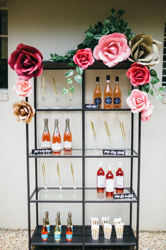 Rosé All Day | Wine bar | Paper floral installation | Party ideas | HOORAY! Magazine