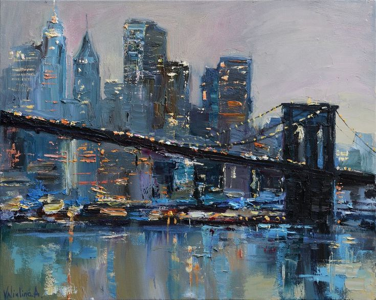 New york skyline painting with bridge for New york skyline painting
