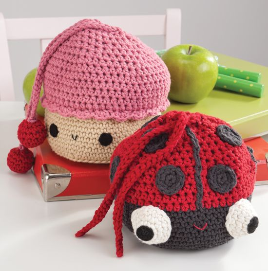 Crocheted cupcake and ladybug snack bags. From Amigurumi on the Go