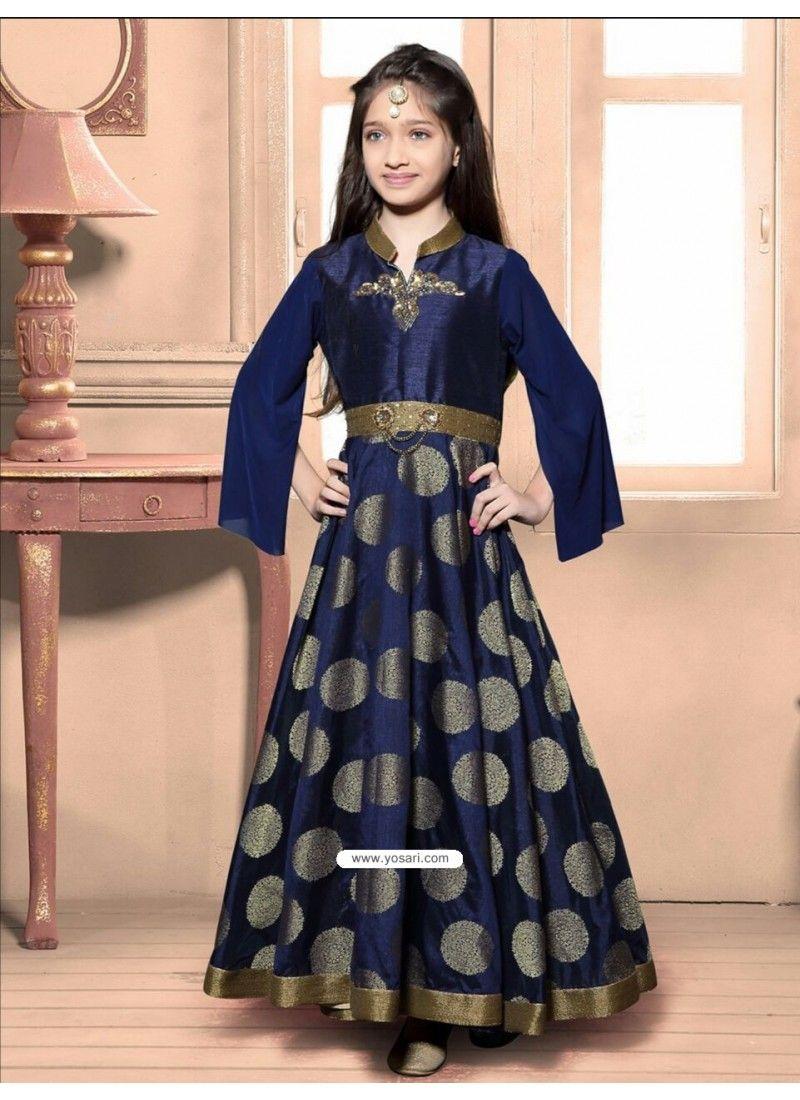 Festive Blue Jacquard Dress Model: YOG324 | Indo Western Dress For ...