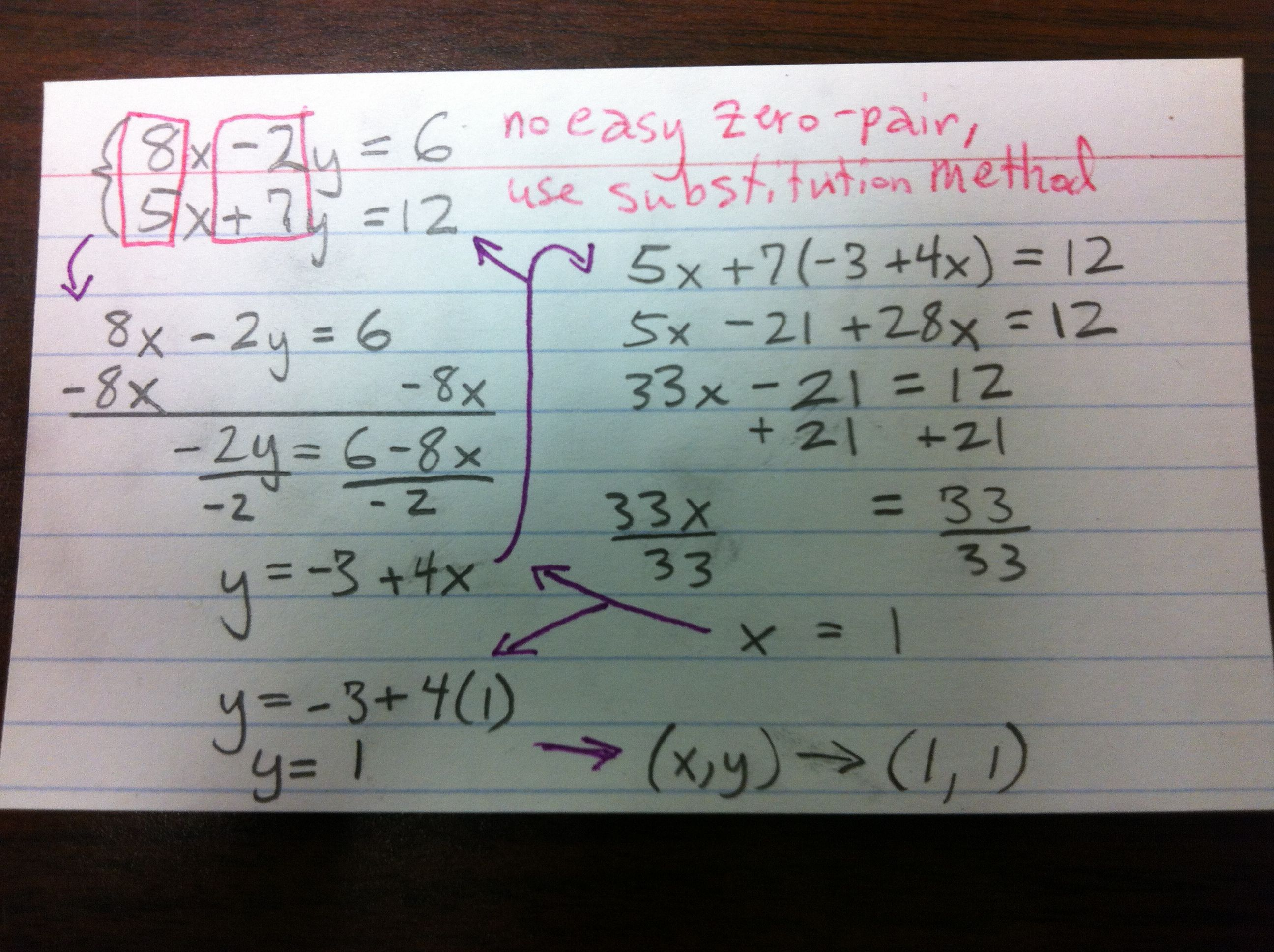 Sometimes Elimination Is More Work Just Use Substitution Math