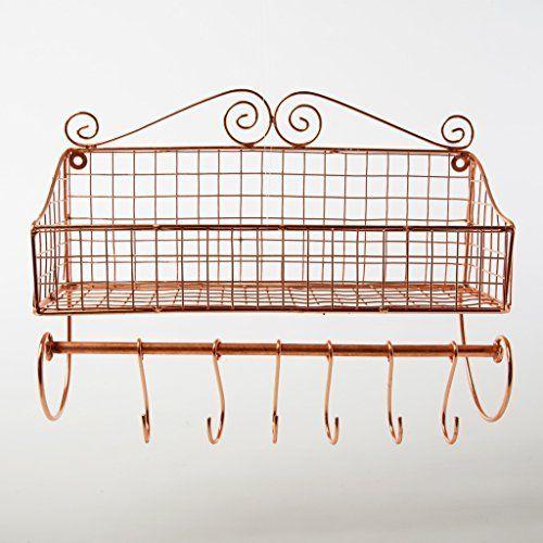 wandablage kupfer eisen metall gew rzregal haken draht wandregal ablage belle. Black Bedroom Furniture Sets. Home Design Ideas