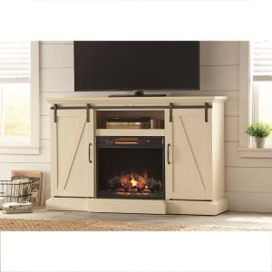 Chestnut hill 56 in tv stand electric fireplace with sliding barn tv stand electric fireplace with sliding barn door in white solutioingenieria Gallery