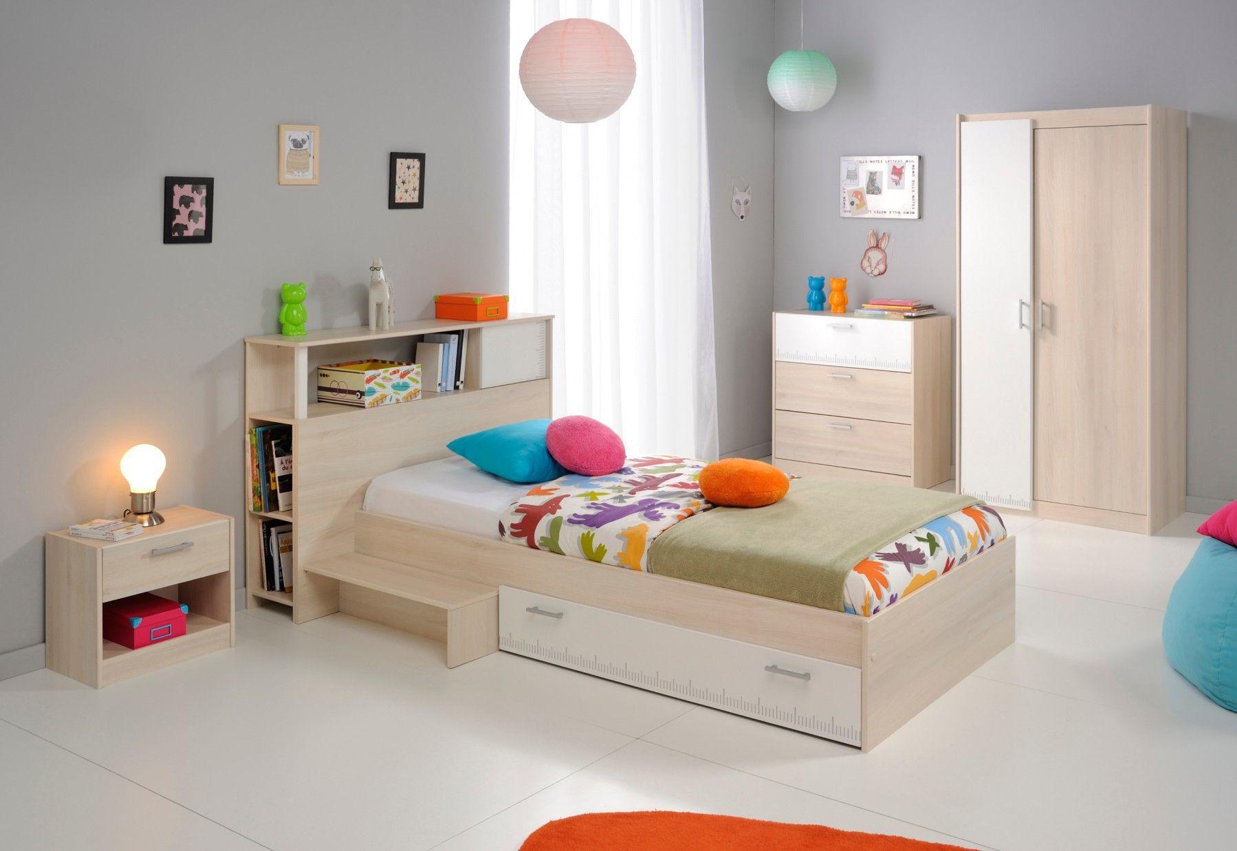 Chambre Complète Enfant en Bois Blanc et Acacia Marcus - Chambre ...