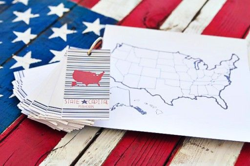 DIY States and Capitals Flashcards by Pen and Paint via lilblueboo