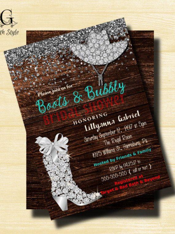 Rustic Bridal Shower Invitation Boots